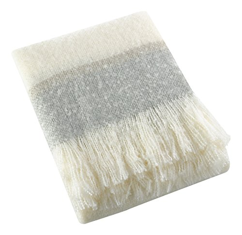 SARO LIFESTYLE TH223.GY5060 Sevan Collection Faux Mohair Design Throw Blanket, Grey, (Grey Mohair)