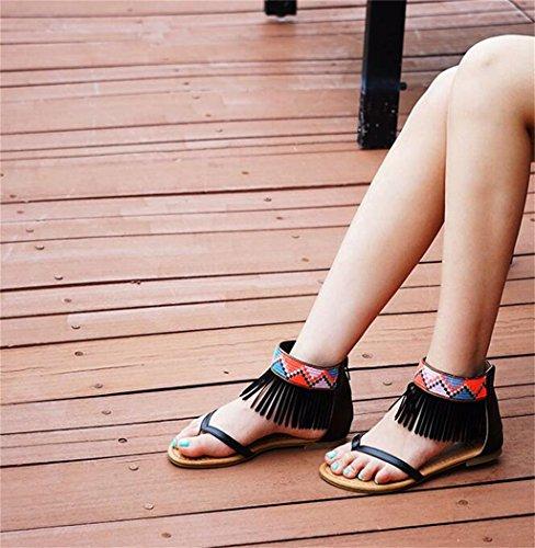 top Il Tempo Per High Infradito Pu Mare Scarpe Piatto Sandalo Caviglia Alla Estate Libero Romano Al La In Spiaggia Bambina Donna Zip Su Clip Sandali Cinturino Nero Con Tacco w8n75dOOq