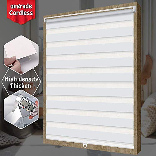 SEEYE Free-Stop Cordless Zebra Roller Shades Horizontal Window Shade Blind Zebra Dual Roller Blinds Day and Night Blinds Curtains, Easy to Install,White,23.6″×72″