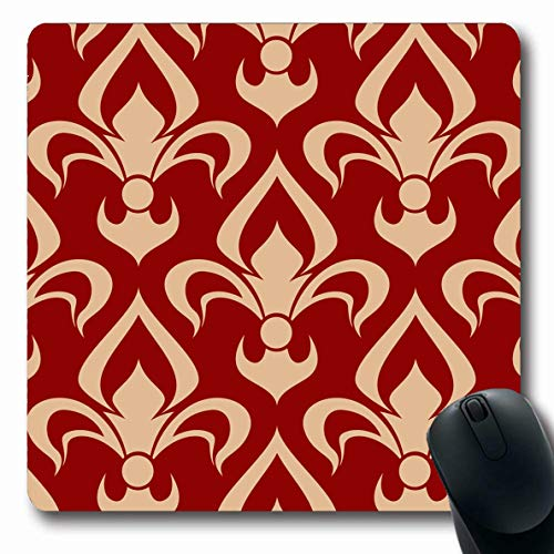 Scroll Mouse Beige Pc - Ahawoso Mousepads for Computers Scroll Beige Antique Medieval Victorian Fleurdelis Pattern Lily Heraldic Adornment Vintage Red Oblong Shape 7.9 x 9.5 Inches Non-Slip Oblong Gaming Mouse Pad