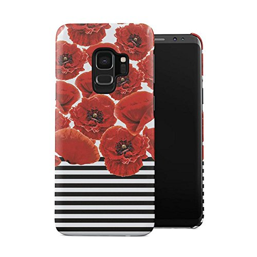 Case Black Dahlia (Red Poppy Blossoms Pattern Black, White Stripes Plastic Phone Snap On Back Case Cover Shell For Samsung Galaxy S9)