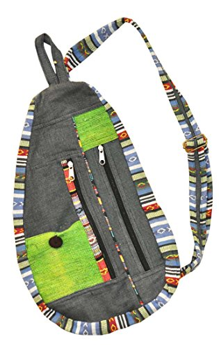 Mandala Tibetan Shop Bohemian Hemp Sling Backpack (Gray)