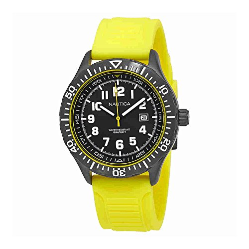 Nautica NSR 105 Black Dial Yellow Silicone Mens Watch NAD13527G