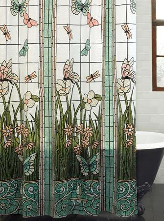 EZON-CH Customize Waterproof Stained Glass Meadow Flower Dragonfly Print Polyester Fabric Home Hotel Apartment Bathroom Shower Curtain 36x72IN - Stained Glass Fabric