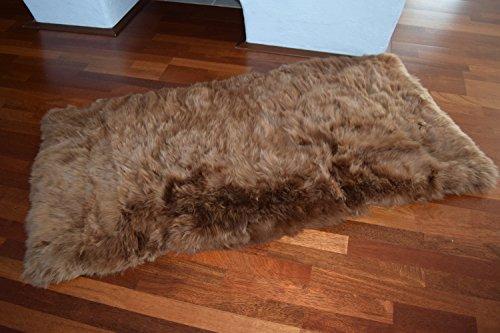 Naturasan Designer Schaffellteppich Lammfell-Teppich, Decke, Flokati, Shaggy, Lounge Hochflor Fellteppich, Camel, 140x70 cm