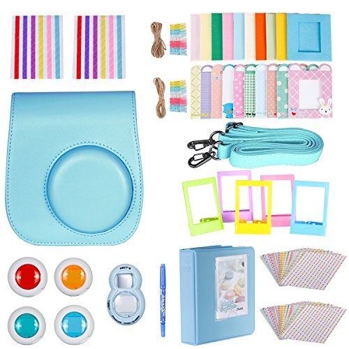 (Neewer 10-in-1 Accessories Kit For Fujifilm Instax Mini 8/8s/9 Include Camera Case/Album/Selfie Lens/4Colored Filters/5Film Table Frames/20Wall Hanging Frame/40Border Stickers/2Corner Stickers/Pen)