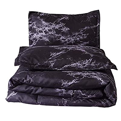 "A Nice Night Closure-Printed Marble Ultra Soft Comforter Set Bed-in-a-Bag,Queen (Black-Marble) - Queen Size Information-Comforter size is 228m*228m(89""x89""),2XPillowcases sizes is 48x74cm(18.9""x29.1"") EASY CLEAN-The comforter is Machine washable in cold water. Microfiber material is cool and breathable, More durable than cotton SUPER SOFT-The comforter is Ultra-soft, reversible microfiber comforter with warm down alternative filling - comforter-sets, bedroom-sheets-comforters, bedroom - 517bHwJJWDL. SS400  -"