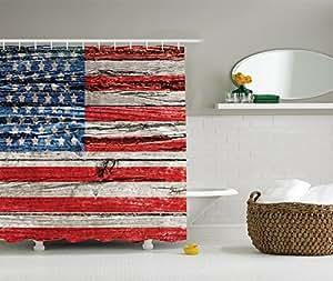 Amazon Com Rustic Decor American Usa Flag Shower Curtain