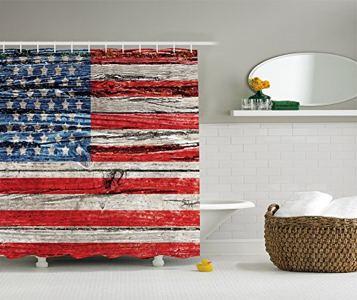 American Flag Shower Curtain USA Decor by Ambesonne, Painted Old Wooden Panel Wall Looking Freedom Symbol Print Theme, Polyester Fabric Bathroom Set with Hooks, 75 Inches Long Blue and Red