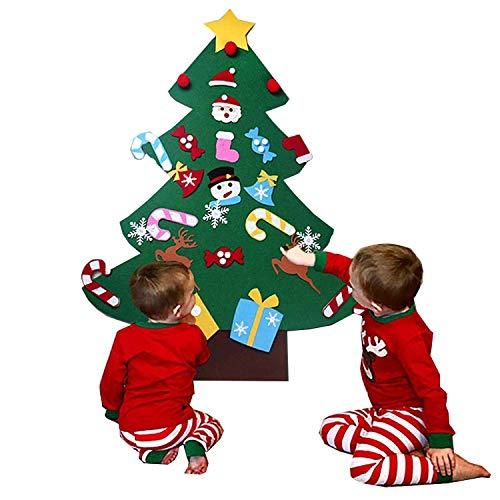 YISUGAR 3ft DIY Felt Christmas Tree Set + 26pcs Detachable Ornaments, Wall Hanging Xmas Gifts for Christmas Decorations