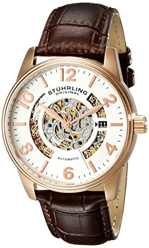 Automatic 16k Rose - Stuhrling Original Men's 649.02 Legacy Automatic 16k Rose Gold-Plated with Brown Leather Strap Watch