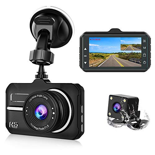 【2019 New Version】 CHORTAU Dash Cam FHD 1080P 3 Inch Dual Lens with 170°  Wide Angle and Waterproof Rear Camera, Dashboard Camera with Super Night