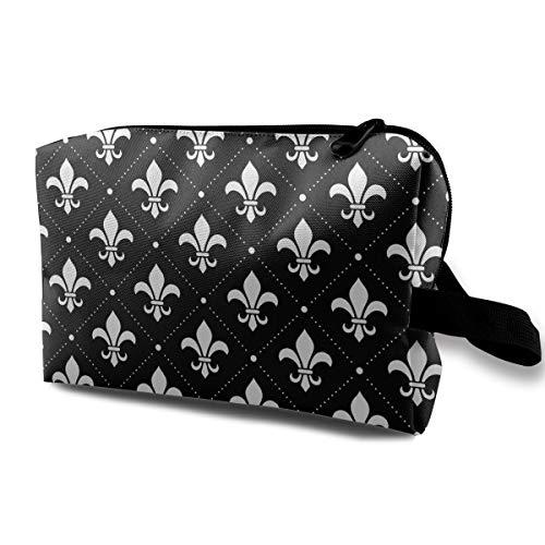 - Black Fleur De Lis Women's Portable Travel Makeup Bag Toiletry Pouch Organizer Cosmetic Bag