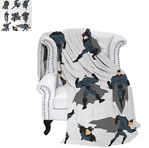 Lightweight Blanket Fun Cartoon Man in Costume Posing Hero Flying Running with Superpowers Art Print Custom Design Cozy Flannel Blanket 80