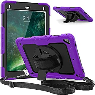 Timecity Case Compatible with iPad 6th/5th Generation,9.7 Inch 2018/2017 Case with Rotating Stand/Strap Full-Body Hybrid Armor Protective Case Replacement for iPad 5th/6th Gen/Air 2/ Pro 9.7 Purple
