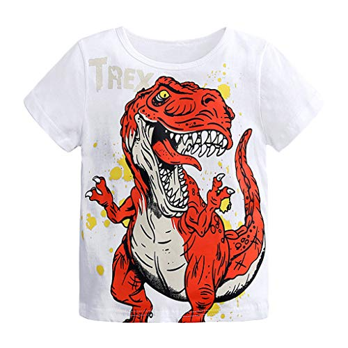NUWFOR Baby Boys Short Sleeve Cartoon Dinosaur Print Tops T-Shirt Clothes Summer Short T-Shirt for Toddler(White,4-5 Years)]()