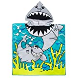 VOBCTY Microfiber Kids Hooded Bath Beach Pool Poncho Towel 2424Inch(Shark)