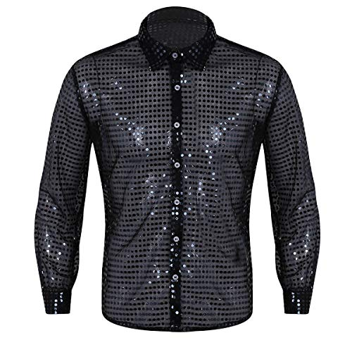 ACSUSS Men's Shiny Sequined Mesh Top Disco Dance Shirt Dude Costume Black X-Large ()