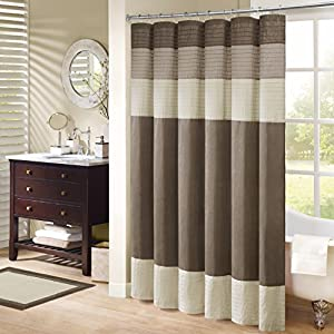 Madison Park Pieced Faux Dupioni Shower Curtain, Natural