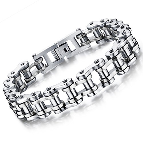 Flongo Men's Biker Stainless Steel Merchanical Silver Bicycle Link Chain Wrist Bracelet, 8.5 inch