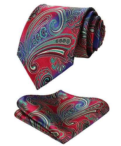 HISDERN Paisley Tie Handkerchief Woven Classic Men's Necktie & Pocket Square Set (Red & Green)