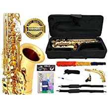 D'Luca 350L 350 Series Brass Eb Alto Saxophone with F# Key, Professional Case, Cleaning Kit, Gold