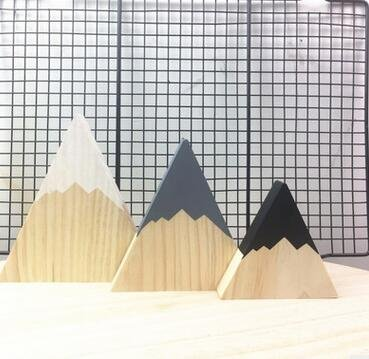 Gold Happy Nordic Top Woodland Wood Mountain Decorative Handmade Kids Bookends Home Decor Wooden Mountain Children's Room Decoration Blocks by Gold Happy (Image #1)