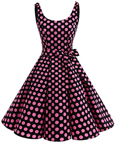 (Bbonlinedress 1950's Bowknot Vintage Retro Polka Dot Rockabilly Swing Dress Black Pink BDot M)