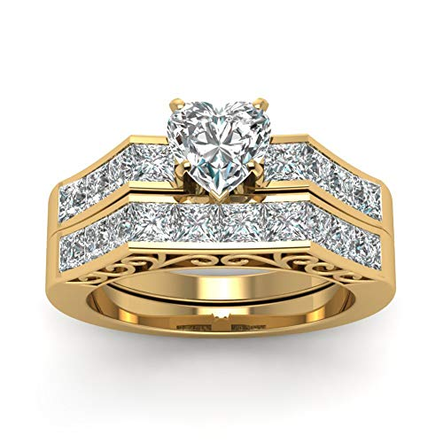 wedding ring set Two Rings His Hers Couples Rings Women\'s 10k Yellow Gold Filled White CZ Wedding Engagement Ring Bridal Sets & Men\'s Tungsten Carbide White Cz Wedding Band