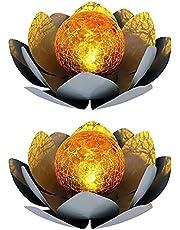 MRZJ Solar-lichttuin, led-solarlamp, lotuslicht, zonnelamp, lotus drijvende licht, vijverlicht, droomlichteffect, tuinlicht (A -2 stuks)