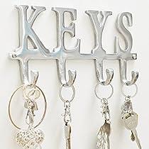 Key Holder Keys - Wall Mounted Key Holder | 4 Key Hooks Rack| Decorative Cast Aluminum Key Rack | Polished Finish | with Screws and Anchors - by Comfify(Keys AL-1507-20)