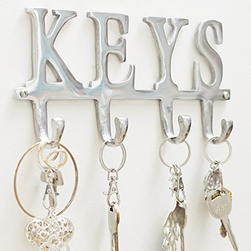 "Key Holder ""Keys"" – Wall Mounted Key Holder – 4 Key Hooks Rack – Decorative Cast Aluminum Key Rack – Polished Finish – with Screws and Anchors – by Comfify (Keys AL-1507-20)"