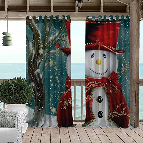 (Linhomedecor Patio Waterproof Curtain Christmas Snowman Tree Star 9 Porch Grommet Panel Curtains 96 by 96 inch)