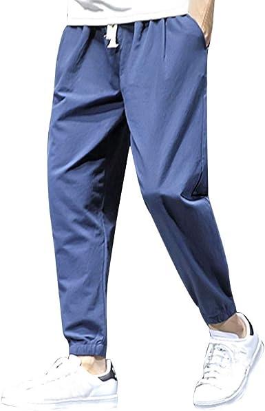 Ogeenier Uomo Pantaloni da Jogging Sportivi Pantaloni da Allenamento Cotone con Tasca con Cerniera