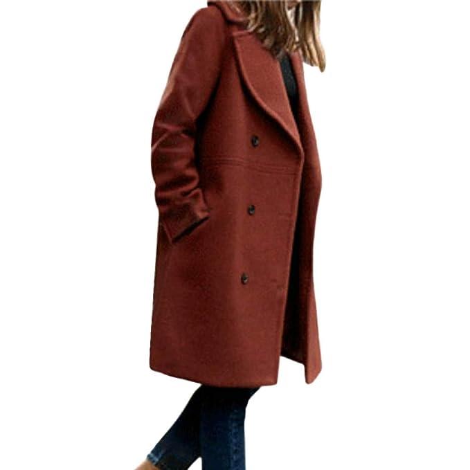 super popular 8e402 3677b CLOOM-Cappotto Donna Cappotto Elegante Moda Donna Lunga ...