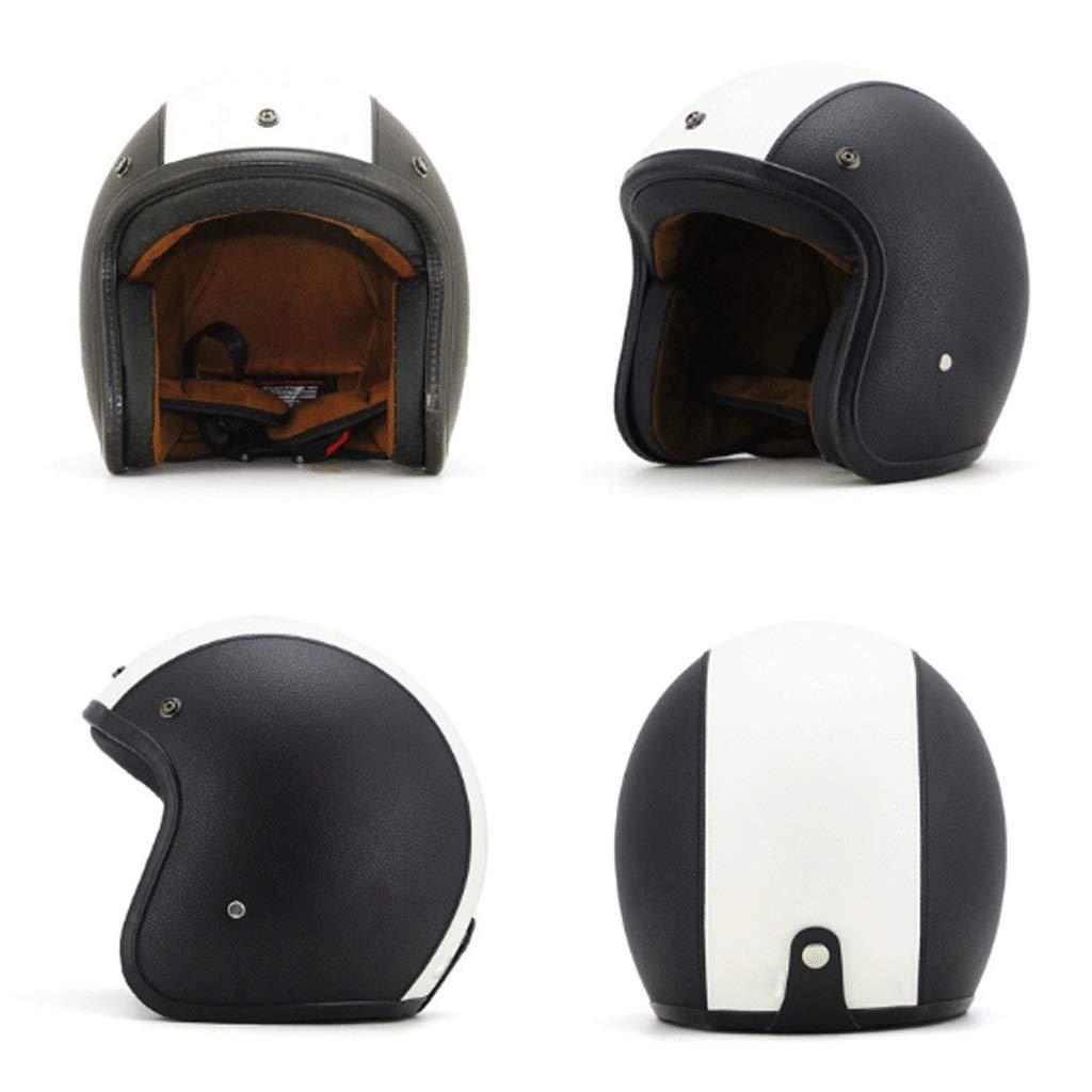 DJL Helm Retro Für Harley Locomotive Halbe Helm 3 4 Helm Lederhelm Halbe Helm Multicolor DJLSF (Farbe   Weiß+schwarz (Leder))