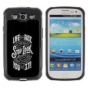 CASSO Cases / Samsung Galaxy S3 I9300 / FAST LIFE TYPOGRAPHY / Robusto Prueba de choques Caso Billetera cubierta Shell Armor Funda Case Cover Slim Armor