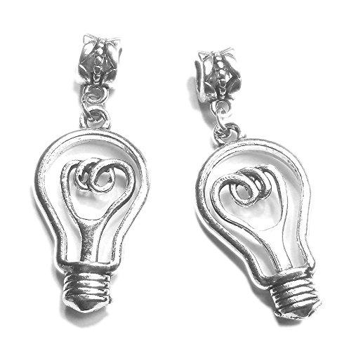Sabai NYC Silvertone Matching Friendship Slide Pendants Geekery Edition (Evil Genius Light (Light Bulb Necklace)