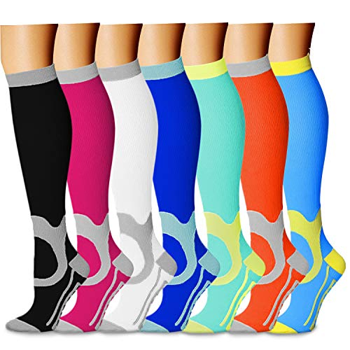 Compression Socks (7 Pairs), 15-20 mmHg is Best Athletic & Medical for Men & Women, Running, Flight, Travel, Nurses, Pregnant - Boost Performance, Blood Circulation & Recovery