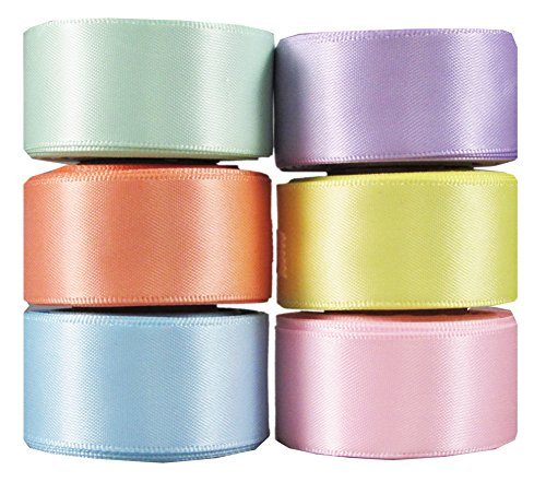 Q-YO Ribbon for Crafts, Grosgrain/Satin Ribbon Combo for Gift Package Wrapping, Hair Bow Clips & Accessories Making, Sewing, Wedding Decor (6x5yd 7/8