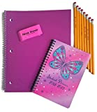 Back to School Supplies for Teen Girls Includes Notebook, Student Planner, Pencils and an Eraser, Bundle of 4