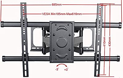 """VideoSecu Articulating TV Wall Mount Bracket for Most 37~70 inch Sony Samsung LG Panasonic Vizio Sharp LED LCD PLASMA, Full Motion Dual Arm pulls out up to 25"""" MW390B WTV"""