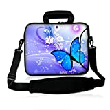 Blue Butterfly 14' 14.1' 14.2' 15' 15.4' 15.6 Inch Laptop Notebook Computer Netbook Soft Shoulder Bag Dual Zipped Neoprene Messenger Bag Case Cover Pouch Holder Pocket - Fshb15-11
