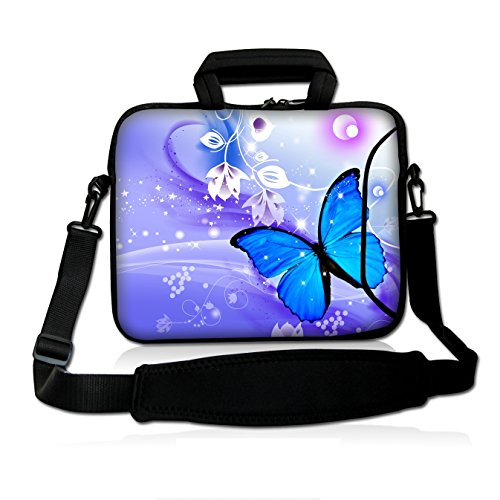 [Colorfulbags Universal Blue Butterfly 10Inch Laptop Netbook Shoulder Bag Case Messenger Cover With Extra Pocket for iPad and Most 9.7