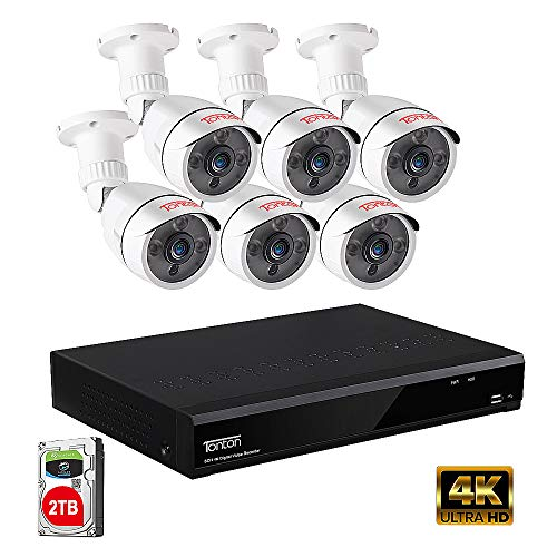 Tonton 5MP Security Camera System Outdoor,8-Channel Ultra HD 4K 8MP DVR Recorder with 2TB HDD,6PCS 5MP Waterproof Bullet Cameras,Smart Motion Detection and Alerts,Easy Remote Access,Metal Housing