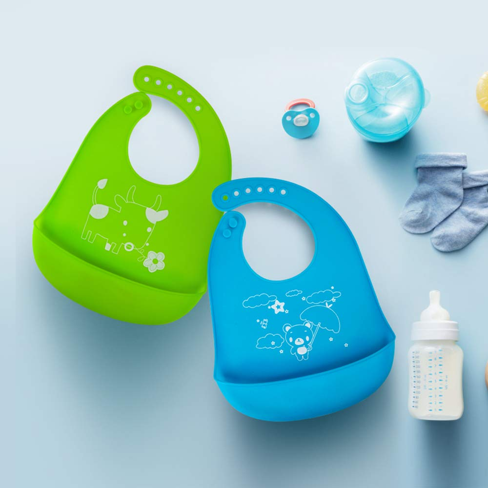Waterproof Soft Silicone Baby Bibs,Easily Wipes Clean,Keep the Mess Off,Give your baby a Good Care (Blue&Green)