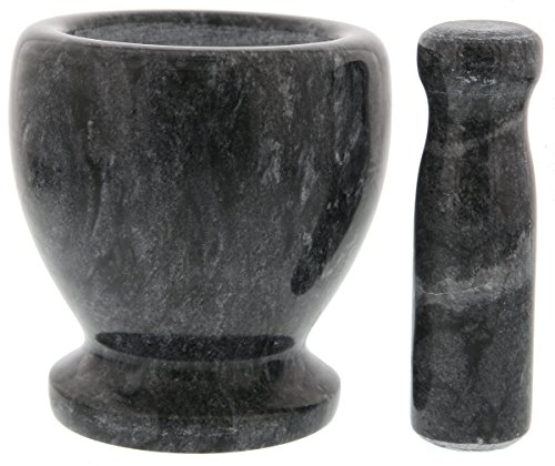 Juvale Pestle and Mortar Marble Set - Grinding Pastes Meal - 5 x 4.5 inches 2 Premium quality mortar and pestle set is made from marble that is hefty and food-safe. Perfect for grinding, pounding, and crushing spices, herbs, tough foods, grains, teas, garlics, and gingers. The grinder is not limited to just food it is also usable for supplements and pills. All pieces constructed of rustic, beautiful black marble with grey accents.