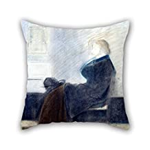 bestseason pillow shams of oil painting James Whistler - Study of Thomas Carlyle 16 x 16 inches / 40 by 40 cm,best fit for dance room,car,bench,valentine,father,monther two sides