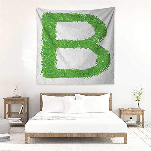 Letter B high-end Quality Tapestry Kids Baby Boys Children Capital B Name Fresh Growth Environment Ecology Concept Wall Hanging Carpet Throw 32W x 32L INCH Green White