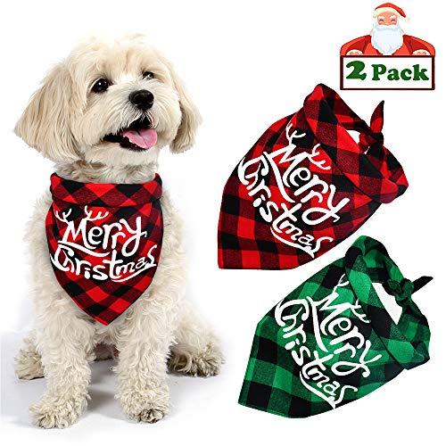Yodofol Dog Christmas Bandana, Buffalo Plaid Pet Bandana Reversible Triangle Merry Christmas Bibs Accessories for Dogs Cats Pets